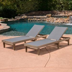 Annalee Outdoor Mesh and Wood Chaise Lounge, Set of 2, Grey, Dark Grey