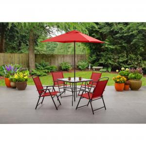 Mainstays Albany Lane 6 Piece Outdoor Patio Dining Set, Red