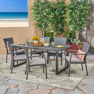 Lily Outdoor 7 Piece Acacia Wood Dining Set with Wicker Chairs and Cushions, Sandblast Dark Grey, Gray, Gray