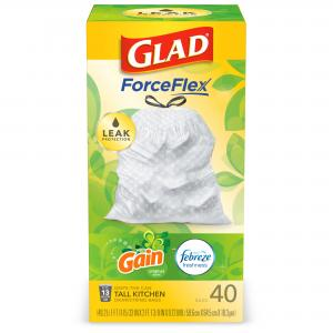 Glad Tall Kitchen Trash Bags, 13 Gallon, 40 Bags (ForceFlex, Gain Original)
