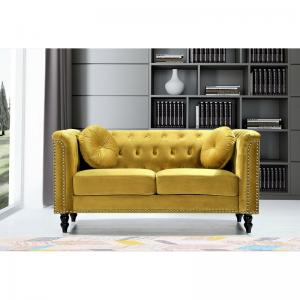 Whetzel Chesterfield 64″ Rolled Arms Loveseat, Strong Yellow