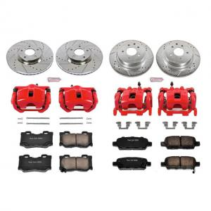 Power Stop Front and Rear Z23 Evolution Brake Pad and Rotor Kit with Red Powder Coated Calipers KC6075