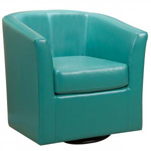 Noble House Dillon Turquoise Faux Leather Swivel Club Chair