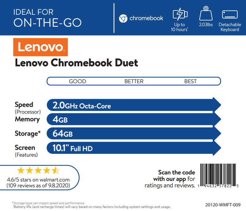 Lenovo Chromebook Duet – 10.1″ – 64GB – With Keyboard