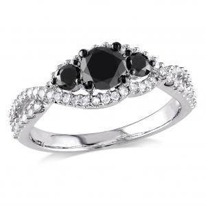 1 Carat T.W. Black and White Diamond 14kt White Gold Infinity Engagement Ring