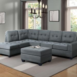 Harper&Bright Designs 3-piece Sectional Sofa with Cup Holder and Storage Ottoman, Grey