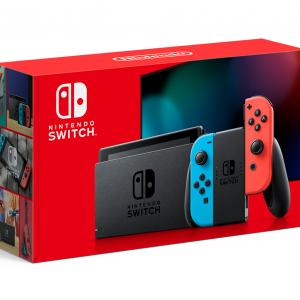 Nintendo Switch Console with Neon Blue & Red Joy-Con.
