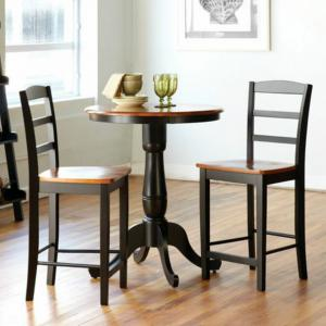 International Concepts Oakdale 3-Piece Round Counter Height Dining Table with 2 Madrid Stools – Black/Cherry