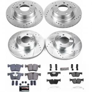 Power Stop Front and Rear Ceramic Brake Pad and Drilled and Slotted Rotor Kit K6744
