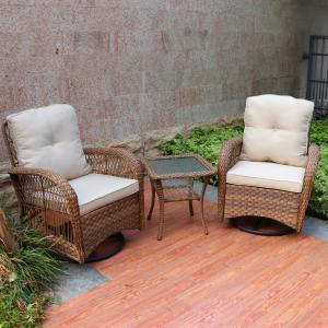 Abble Swivel Conversation 3 Piece Rattan Seating Group Set with Cushions