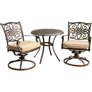 Cambridge Seasons 3-Piece Bistro Dining Set with Two Alumicast Swivel Rockers and a 32 in. Round Table