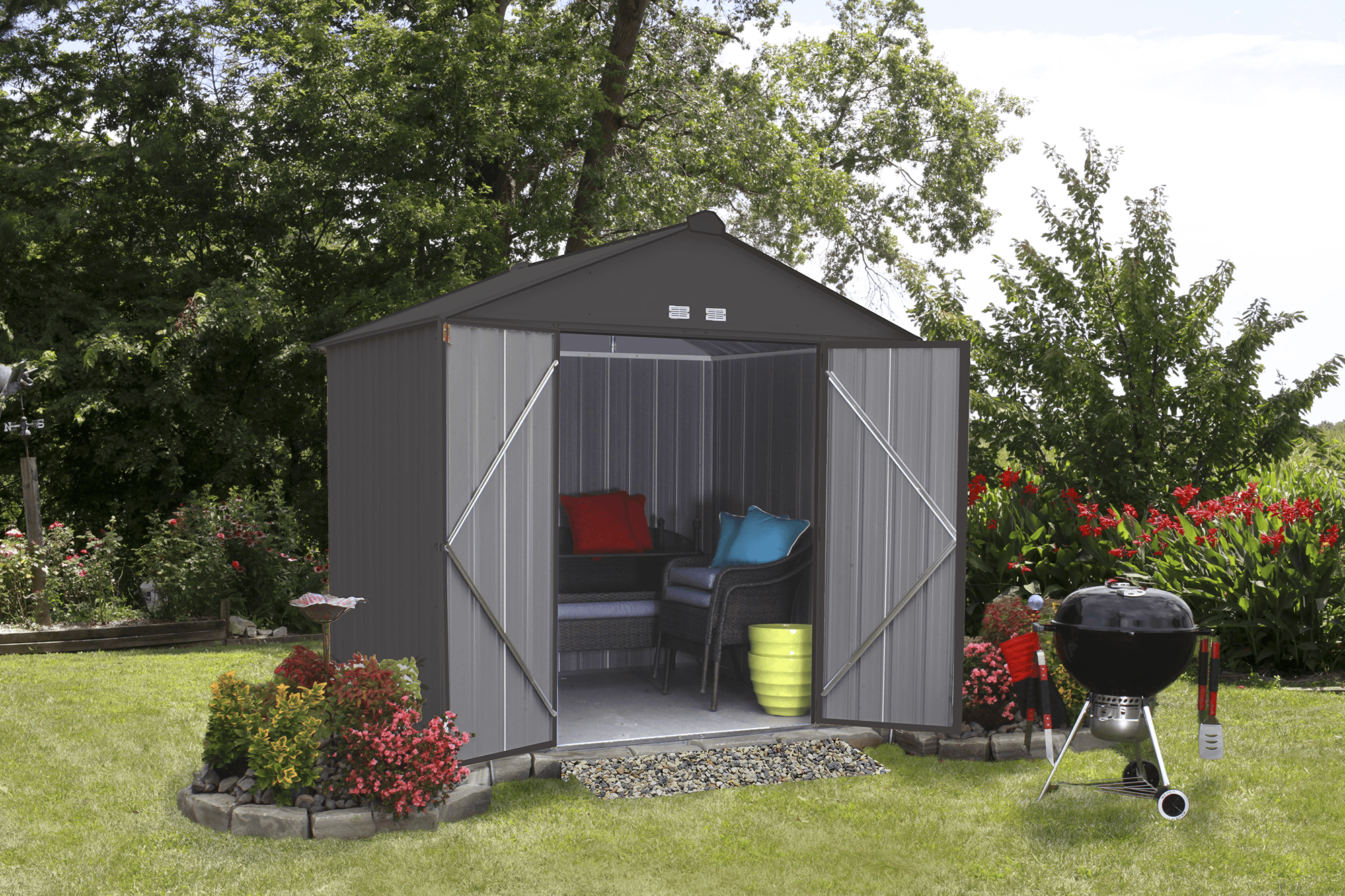 EZEE Shed Steel Storage 8 x 7 ft. Galvanized High Gable Charcoal