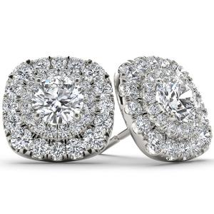 1/2 Carat T.W. Diamond 10kt White Gold Double-Halo Stud Earrings
