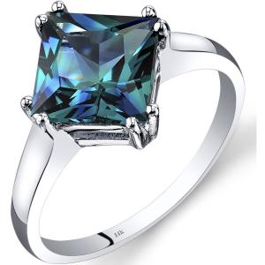 2.75 ct Princess Cut Created Alexandrite Solitaire Ring in 14K White Gold