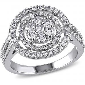 1 Carat T.W. Diamond 10kt White Gold Double-Halo Engagement Ring