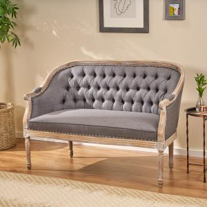 Noble House Sarahbella Traditional Fabric Tufted Upholstered Loveseat, Dark Gray and Antique