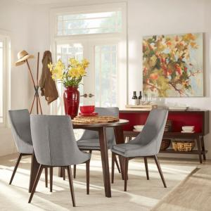 Chelsea Lane Baxter 5-Piece Dining Set, 1 Table, 4 Chairs, Gray Chairs