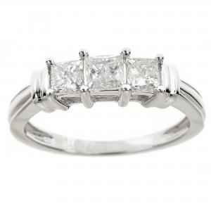 1 Carat T.W. Princess White Diamond 14kt White Gold 3-Stone Ring, IGL certified