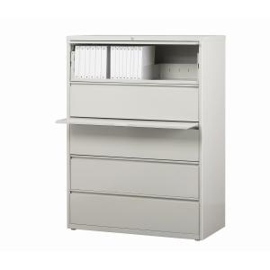 Hirsh 42-in Wide HL8000 Series 5 Drawer Lateral File Cabinet, Light Gray