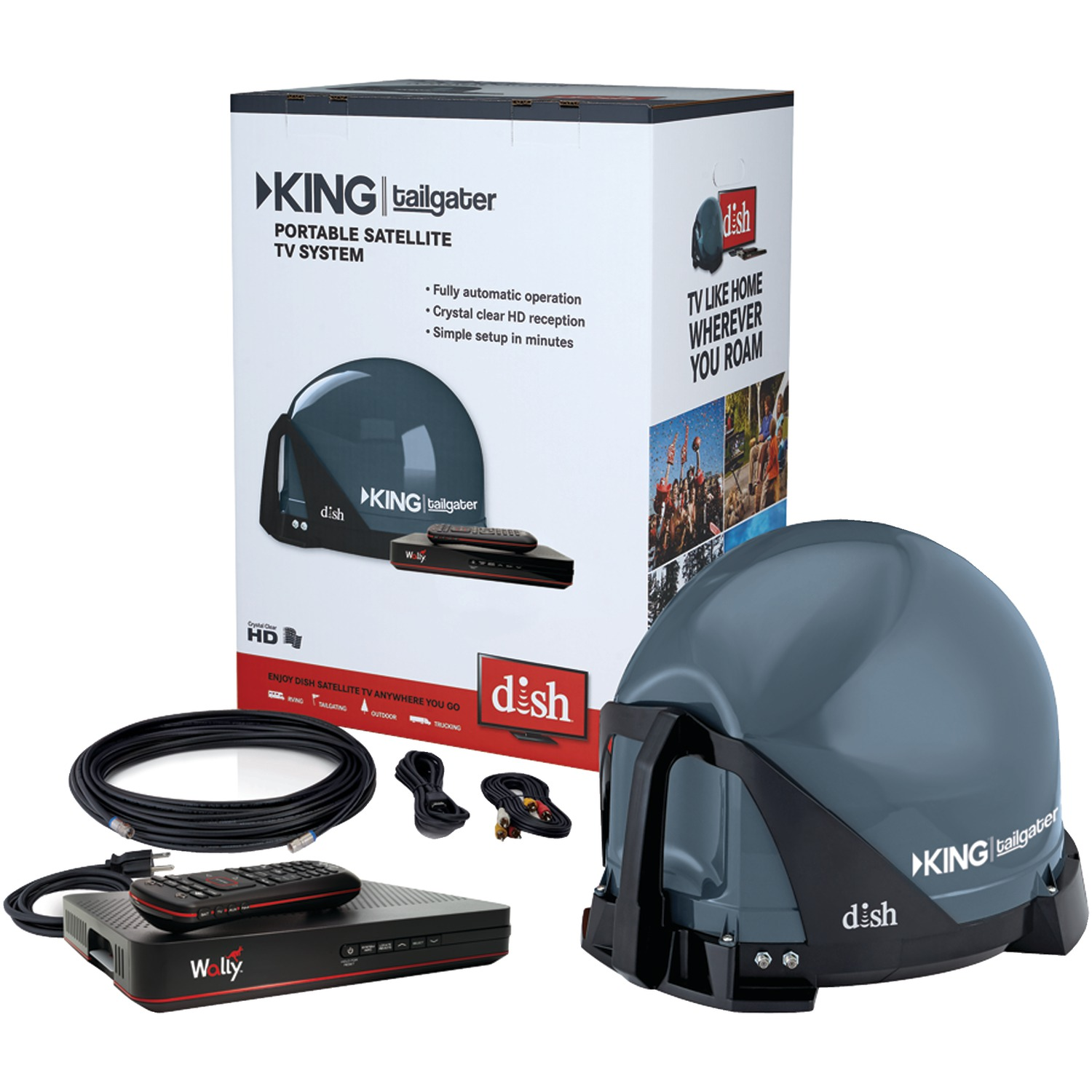 KING VQ4550 Tailgater Bundle with Carry Bag – Portable Satellite TV Antenna, DISH Wally HD Receiver & CB1000 Tailgater Padded Carry Bag for RVs, Trucks, Tailgating, Camping and Outdoor