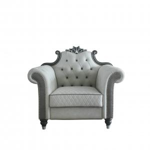 Delphine Chair in Pearl White Leather-Aire & Charcoal Finish