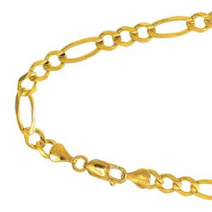 10k Semi-solid Yellow Gold 5.4 Mm Lite Figaro Necklace 20″ Lobster Claw Clasp