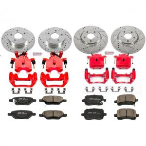 Power Stop Front and Rear Z23 Evolution Brake Pad and Rotor Kit with Red Powder Coated Calipers KC1612A