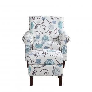 Blue Floral Armchair with Ottoman