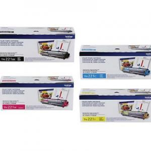 Brother Genuine Standard Yield Toner Cartridge 4-Color Set, TN221BK, TN221C, TN221M and TN221Y, Replacement Black, Cyan, Magenta and Yellow Toners