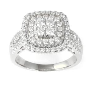 Imperial 10K White Gold 1CT TW Diamond Cluster Halo Engagement Ring
