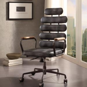 ACME Calan Executive Office Chair in Vintage Black Top Grain Leather