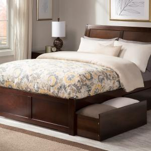 Portland Platform Bed with Flat Panel Foot Board and 2 Urban Bed Drawers, Multiple Colors Multiple Sizes