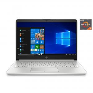 Refurbished HP 14″ Ryzen 3 4GB/128GB Laptop-Silver (Google Classroom Compatible)