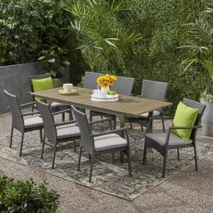 Julianna Outdoor 8 Seater Expandable Wood and Wicker Dining Set, Gray