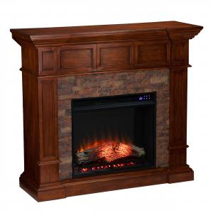 Merrionne Electric Convertible Fireplace w/ Faux Stone – Buckeye Oak