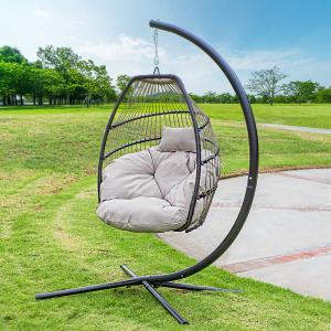 Barton Hanging Egg Swing Chair UV-Resistant Soft Cushion Large Basket Patio Seating, Beige