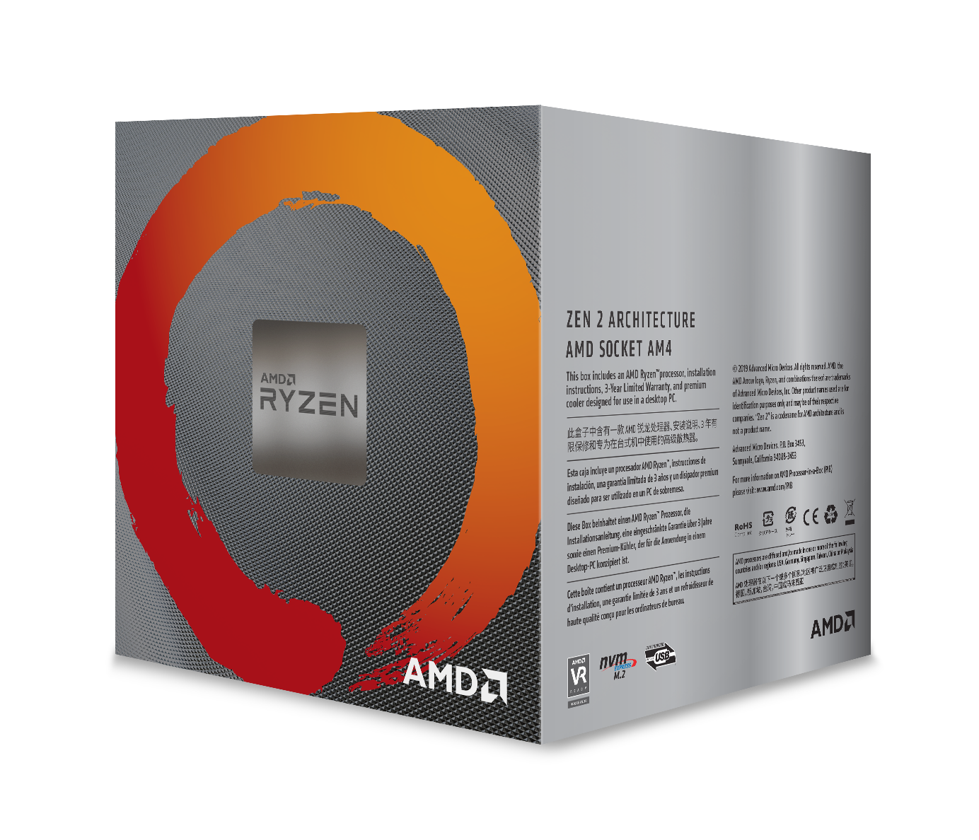 AMD Ryzen™ 5 3600XT 6-core, 12-thread unlocked desktop processor with Wraith Spire cooler