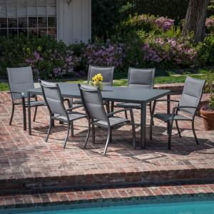 Hanover Fresno 7-Piece Outdoor Dining Set with 6 Padded Sling Chairs and a 42″ x 83″ Glass-Top Table