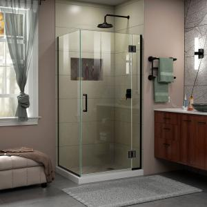 Unidoor-X 33 3/8 in. W x 30 in. D x 72 in. H Frameless Hinged Shower Enclosure in Satin Black