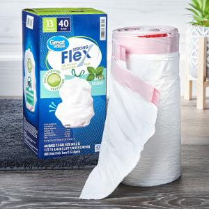 Great Value Tall Kitchen Trash Bags, 13 Gallon, 40 Bags (Strong Flex, Mint Scent)