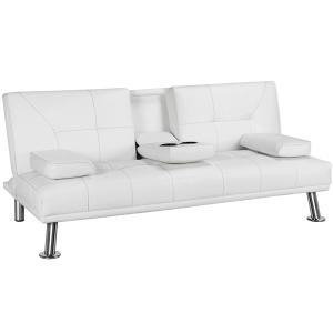 Smilemart Modern Faux Leather Reclining Futon with Cupholders and Pillows, White