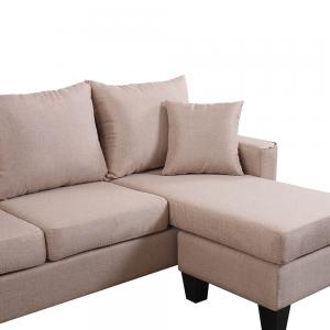 Modern Linen Fabric Small Space Sectional Sofa with Reversible Chaise (Apricot)