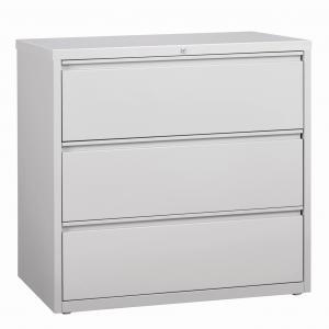 Hirsh 42-in Wide HL8000 Series 3 Drawer Lateral File Cabinet, Light Gray