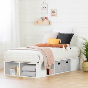 South Shore Flexible Platform Bed with baskets, Multiple Finishes