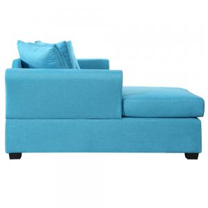 Mobilis Large Linen Fabric L-Shape Couch with Left Chaise Lounge, Sky Blue