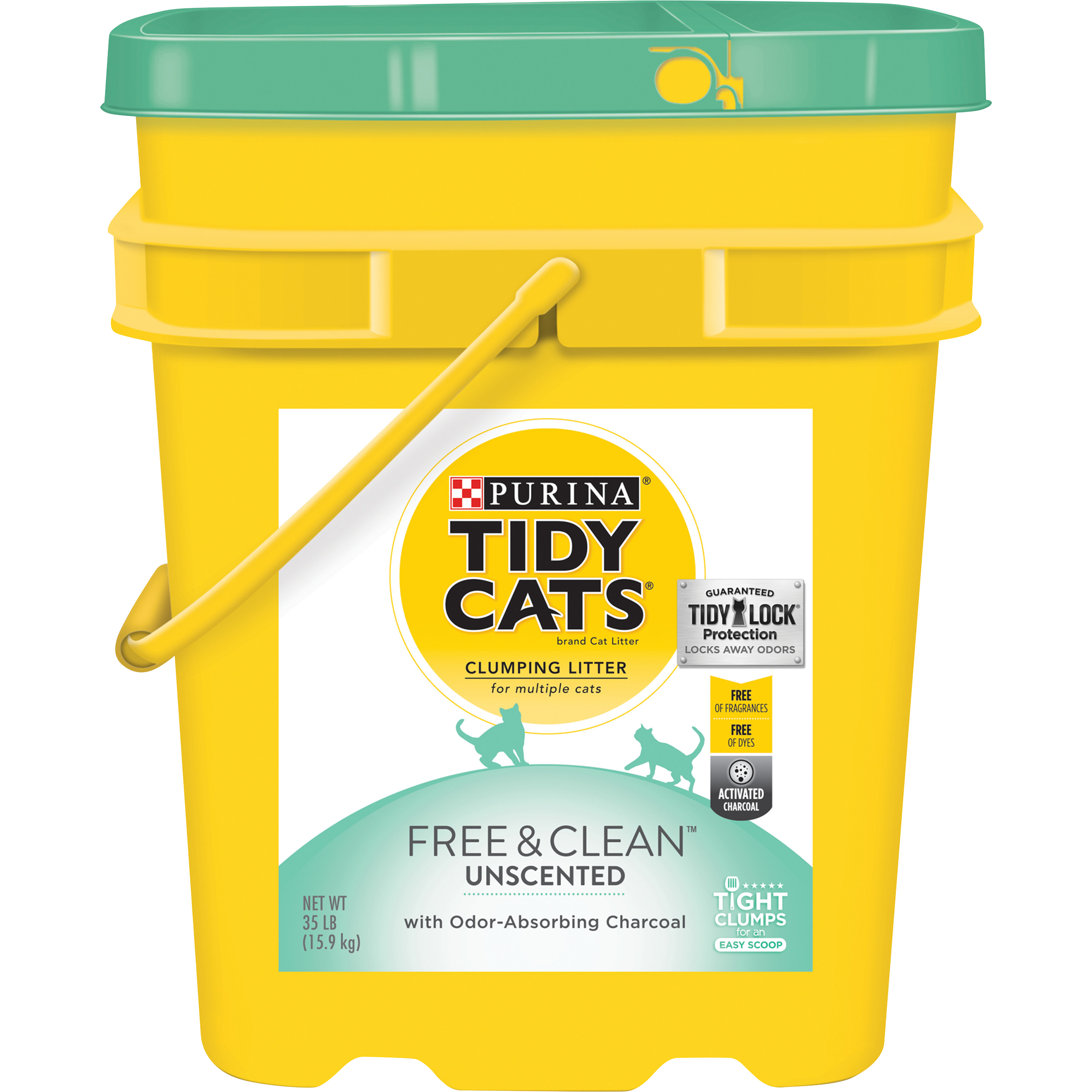 Purina Tidy Cats Clumping Cat Litter, Free & Clean Unscented Multi Cat Litter, 35 lb. Pail