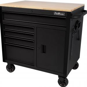 ProWorks 36-Inch W x 24.5-Inch D 5-Drawer 1-Door Mobile Tool Chest Workbench with Solid Wood Top, W36MWC5XD