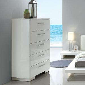 Furniture of America Krister Contemporary 5-Drawer Chest, Glossy White