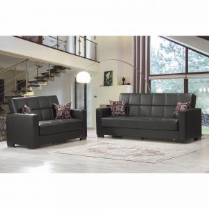 Armada Leatherette Upholstery Sofa Sleeper Bed with Storage