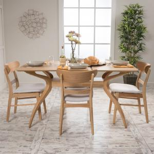 Noble House Lydia Natural Oak Wood Light Beige 5 Piece Dining Set